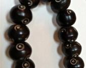 brown bone beads chocolate and cream  beads  8x10mm  quantity 12 beads  DRW400