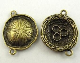 connectors links Bird nest egg charm earring drop pendant antiqued bronze findings supplies mij12 quantity 4