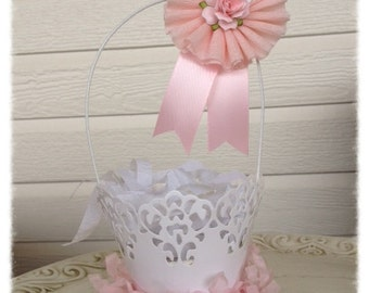 Easter Decoration Shabby Chic Paper Lace Basket Easter Basket Decoration