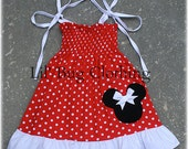 Custom Boutique Clothing White Red Dots Minnie Mouse Smocked Dress