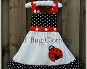 Custom Boutique Girl Ladybug Jumper Dress, Ladybug Birthday Girl Dress, Black White Red Polka Dot Ladybug Dress,