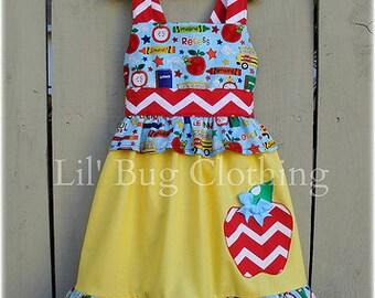Custom Boutique Clothing Back To School Chevron Apple Jumper Dress