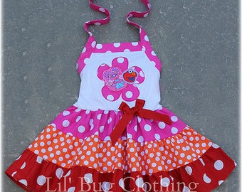 Custom Boutique Clothing Abby Cadabby and Elmo  Tiered Dress  Birthday Sesame Street