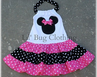Custom Minnie Mouse Pink and Black  White Polka Dot  Tiered Halter Dress