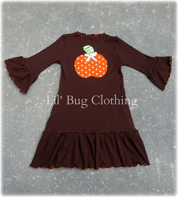 Custom Boutique Clothing Halloween Thankgiving Pumpkin Cocoa Knit  Long Sleeved Dress
