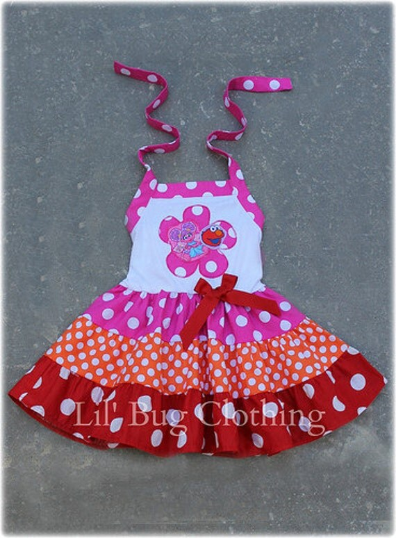 Custom Boutique Clothing Abby Cadabby and Elmo  Tiered Dress  Birthday Sesame Street