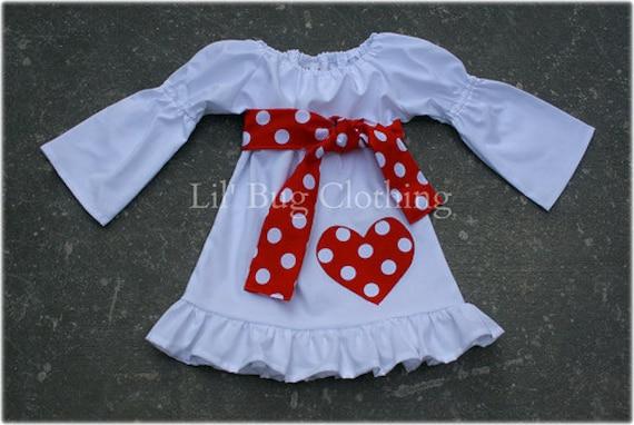 White Valentines Day Peasant Dress Girl Polka Dot Heart 12 18 24 2t 3t 4t 5t 6 7 girl