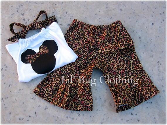 Custom Boutique Leopard Disney Minnie Mouse Short Halter set size 3m 6m 9m 12m 18m 24m 2t 3t 4t 5t 6 7 8 9 10  girl