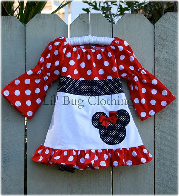 Minnie Mouse Red and Black Fall Peasant Dress
