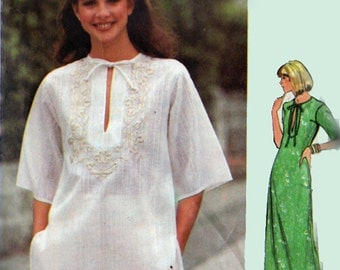 1970s Boho Peasant Top or Dress Butterick 5310 Hippie Vintage Sewing Pattern Size 6