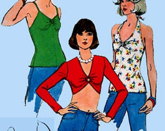 1970s Set of SUMMER Midriff and Halter Pullover Tops Simplicity 6465 Vintage Sewing Pattern RETRO Size 6 -8