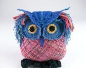 Fiber Art Owl Sculpture Plush Owl Blue and Mauve Handwoven and Crochet Owl Textile Art Doll Animal Sculpture
