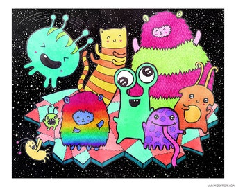 Intergalactic Dance Party 8 x 10 Illustration Print