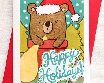Holiday Card - Happy Holidays Chimney Bear - Christmas Notecard