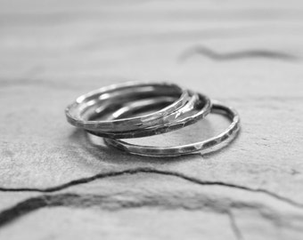 Thin Sterling Silver Stacking Ring. Pinky Thumb Ring. Knuckle Ring. Hammered Oxidized