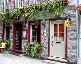 Door Photography Old Quebec City Photos Red Green White Decor Vieux Quebec Canada Wall Art 11x14, 8x10 matted/ 11x14 Travel Photos  Print
