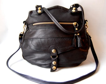 5 pocket leather Oaxaca bag in black