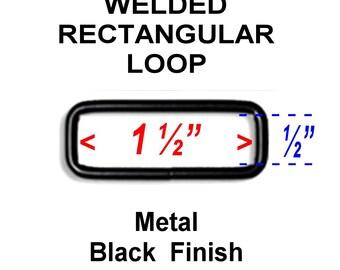"100 PIECES - 1 1/2"" - WELDED Rectangular Loop Ring, 1 1/2 inch, BLACK Finish, 7 gauge"