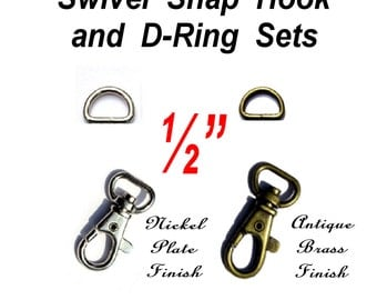"""50 SETS - 1/2"""" - WRISTLET Hardware, Purse Strap Clip, 1/2 Inch D ring and 1/2 Inch Swivel Trigger Snap Lobster Claw Hook, .5"""