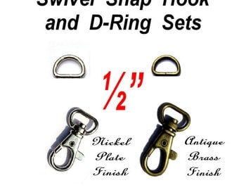 "5 SETS - 1/2"" - WRISTLET Hardware, Purse Strap Clip, 1/2 Inch D ring and 1/2 Inch Swivel Trigger Snap Lobster Claw Hook, .5"