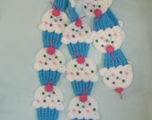 Cupcakes Scarf  Crochet Blue White Frosting Pink 3D Cherry Foodie Food Sweet Yummy Tasty Kawaii Candy Made To Order