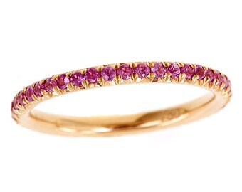 18k Rose Gold The Queen's Crown Micro Pave Eternity Wedding Band VVS Pink Sapphires