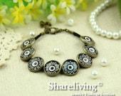 2pcs Bangle Bracelet With Seven 12mm Round Bronze Cameo Setting  (Black) -- RI863J