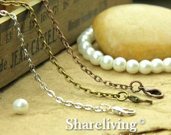 4pcs Silver /  Bronze / Copper Finished Flat Chains