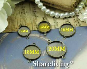 10pcs Antique Bronze 12MM / 14mm / 16mm / 18mm / 20mm Cameo Setting Charm / Connector 2 Loop
