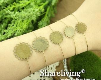 10pcs Antique Bronze  Bangle Bracelet With 12mm / 14mm / 16mm / 18mm/ 20mm Lace Pad