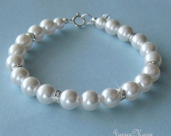 Bridal Pearl Bracelet - Crystal and Pearl Wedding Bracelet in White or Ivory Pearls - Pearl Wedding Jewelry by JaniceMarie