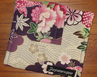 Credit, Gift, Store Card Wallet Japanese Asian Fabric Tama Design Purple
