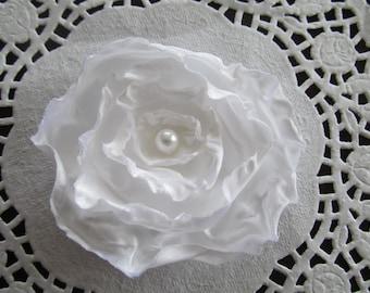 "4"" White Satin Flower Clip for Hair Bows, Headband, Photo Prop, Hair Accessories, Infant Headband"