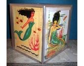 mermaid tissue box dispenser retro vintage nautical 1950's pin up girl rockabilly bathroom decor