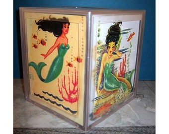 mermaid tissue box dispenser retro vintage nautical 1950's pin up girl rockabilly bathroom decor