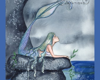 Mermaid and Storm Print from Original Watercolor Painting by Camille Grimshaw