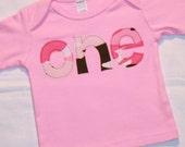 Pink Camo First Birthday ONE shirt for girls - 12-18 month long sleeve light pink shirt