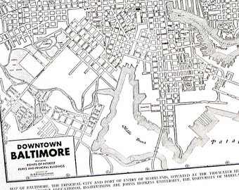 Baltimore Maryland Map - 1944 Vintage Book Page from World Atlas 11 x 14