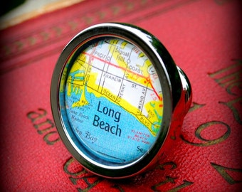 Long Beach Map Drawer Pull Cabinet Knob Handle