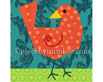 Birdie Bird quilt block, paper pieced quilt patterns, instant download PDF pattern, bird quilt pattern, animal patterns, easy quilt patterns