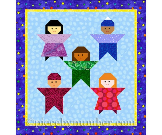 Little Peeps kids quilt block paper piecing quilt patterns