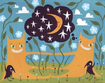 Cat Art Print: Two Orange Cats - Whimsical Artwork Wall Decor with Blue Morning Glories, Moon and Stars and Friendly Crows