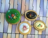 Lot Floral Cameo Necklace Pendant Jewelry Resin Plastic Metal Settings Flower Rose Pink Colorful Assortment