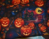 Fabric Black Cats Witches Hats  Alexander Henry Half Yard All Cotton