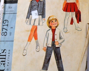 Vintage 1960's Sewing Pattern McCall's 8719 Children's Separates Jacket Skirt Pants Size 2  Complete