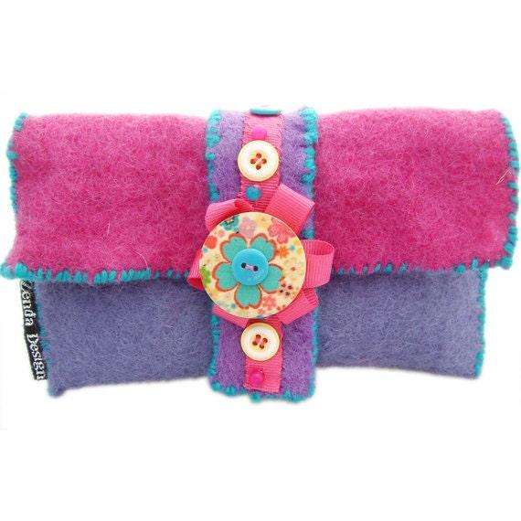 Purse, glasses case,wallet-Purple felt purse with buttons
