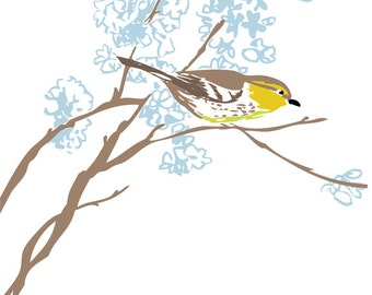Warbler in Flowering Tree:  Boxed Set of 8 Greeting Cards