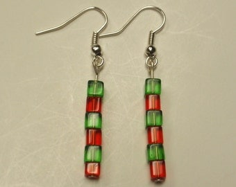 Christmas red green cube bead earrings