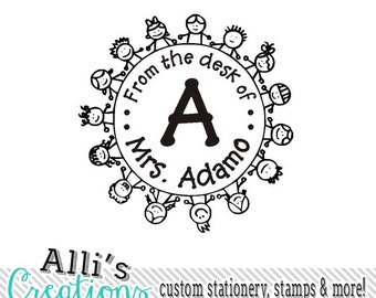 Custom From the Desk of Stamp - Self inking library Teacher Stamp
