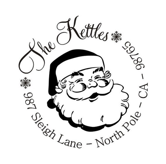 Christmas Return Address Stamp Self Inking by alliscreations